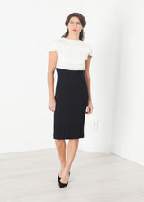 Layered Contrast Dress in Cream/Black