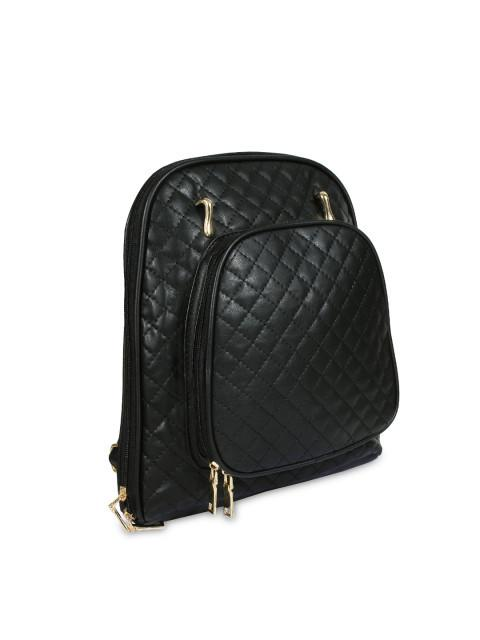 Hiveaxon Black Quilted Backpack