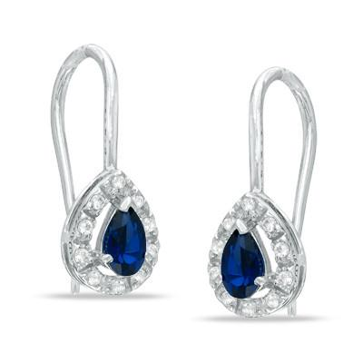 Pear Shaped Blue and White Sapphire Hoops in Sterling Silver