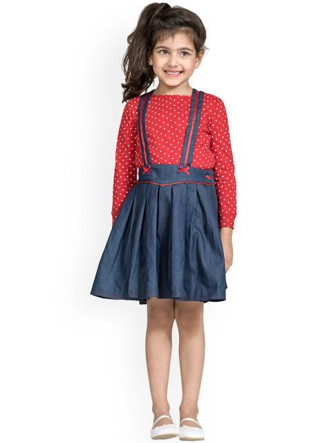 Branyork Blue Self-Design Dungaree Dress