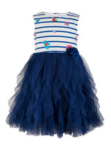 Branyork Blue & White Striped Fit and Flare Dress