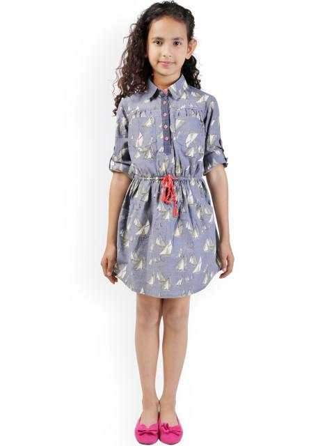 Branyork Blue Printed Shirt Dress