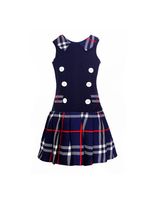 Branyork Navy Checked Drop-Waist Dress