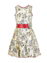 Branyork Cream-Coloured Printed A-Line Dress