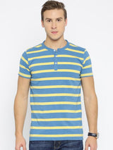 Daneaxon Blue Striped T-Shirt