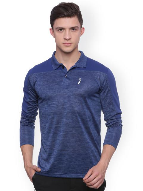 Blue Self-Design Sports Polo T-shirt