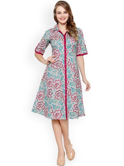 Rosyalps Grey Printed Shirt Dress