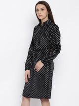 Rosyalps Black Polka Printed Shirt Dress