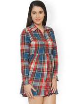 Rosyalps Blue & Red Checked Shirt Dress