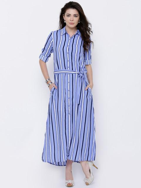 Rosyalps Blue & White Striped Shirt Dress