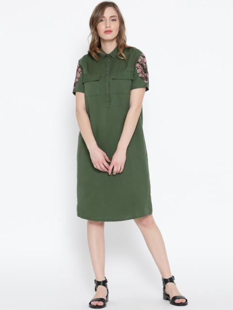 Rosyalps Olive Green Solid Shirt Dress