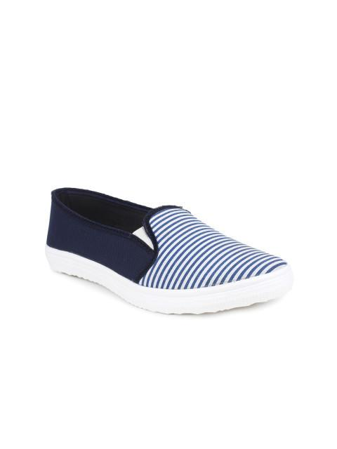 Scamanus Blue Striped Casual Shoes
