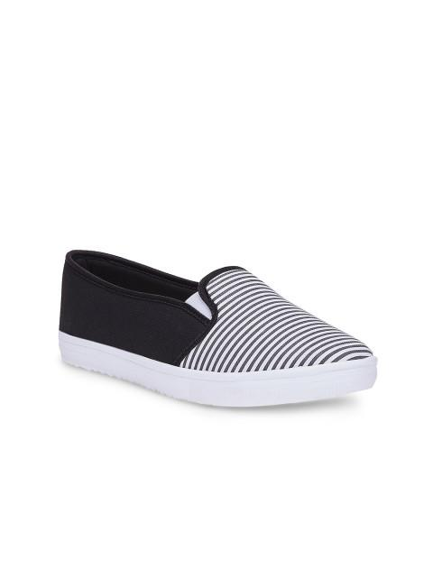 Scamanus Black Striped Casual Shoes
