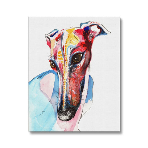 Colourful Greyhound Canvas, greyhound gifts