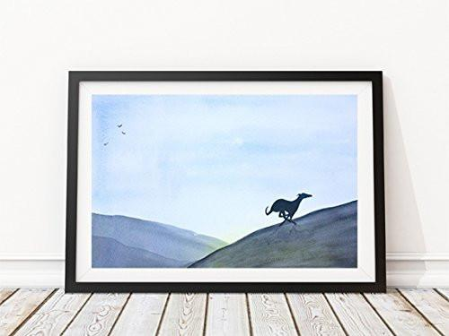 Greyhound Whippet Lurcher Italian Dog Painting Art Print - A5 + Mount 10 x 8 inches