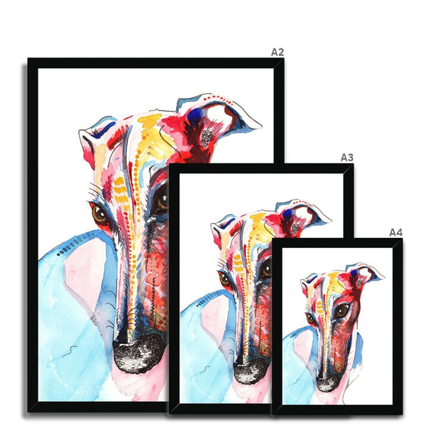 Greyhound Framed Wall Art Print black size guide
