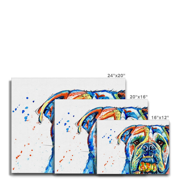 British Bulldog Canvas Prints size guide