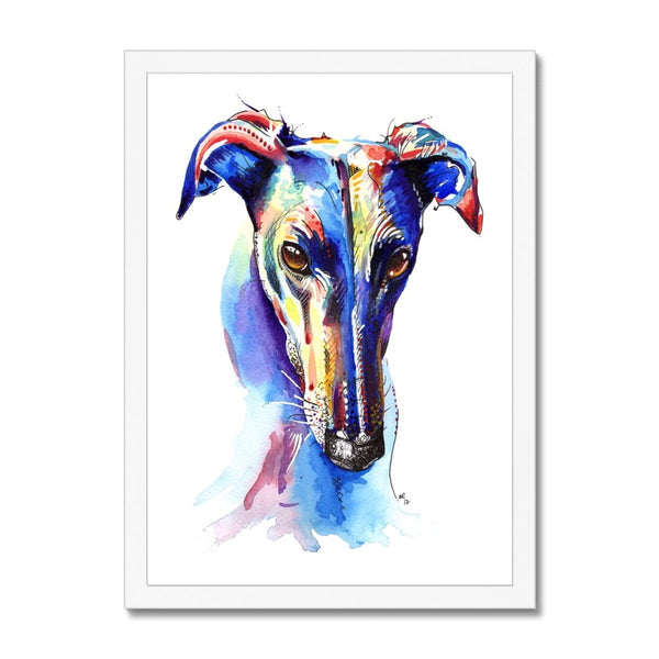 Greyhound Framed Prints white frame