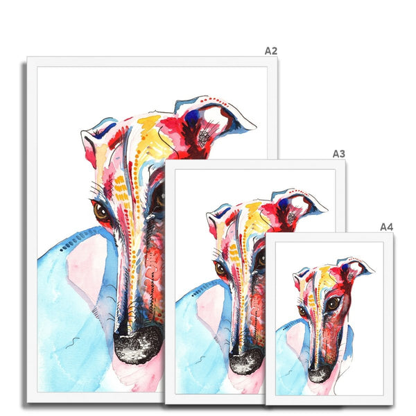 Greyhound Framed Wall Art Print size guide