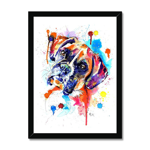 Boxer Dog Framed Print - 'Luca'