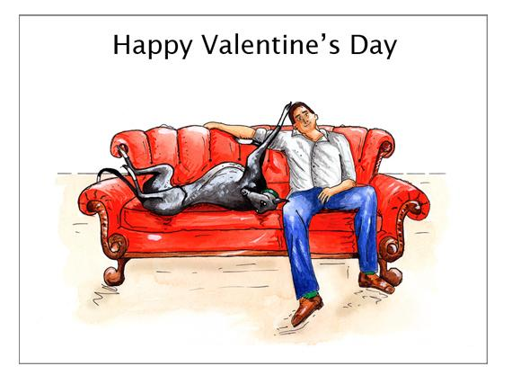Lurcher Valentines Card