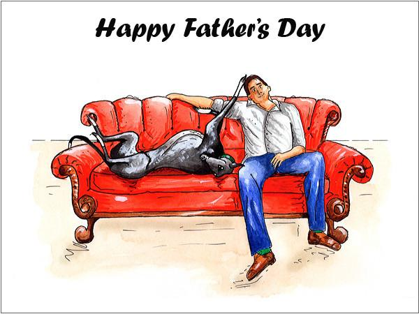 Lurcher Greeting Card Father's Day
