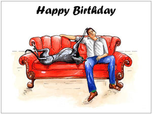 Greyhound birthday cards, greyhound gifts