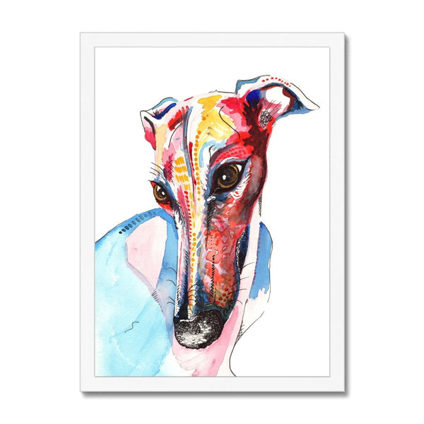 Greyhound Framed Wall Art Print white frame