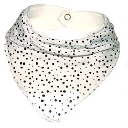 White dribble bib with black random spots