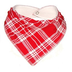 Red and white tartan print bandana dribble bib