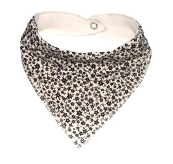 White dribble bib with tiny black flowers