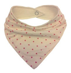 Cream bandana dribble bib with coral heart design