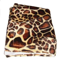 Giraffe faux fur baby blanket - cream