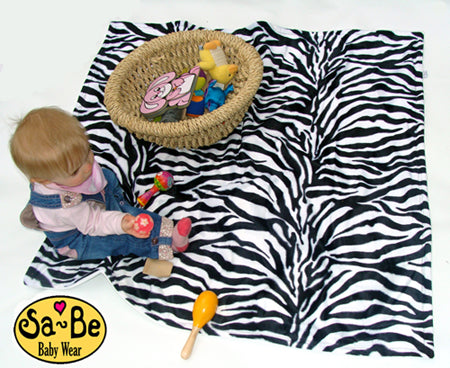 Zebra faux fur baby blanket - White