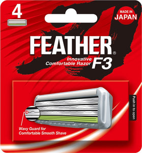 4 pcs Feather F3 Innovative Comfortable Razor Refill