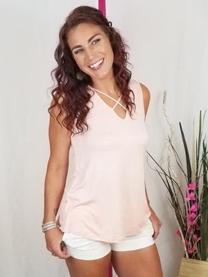 Solid Criss Cross Sleeveless Top