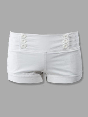 White Cuffed Shorts with Buttons