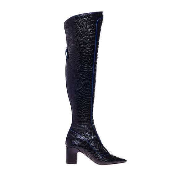 Timeless Over The Knee Boot - Crocstamped Black with Navy Piping