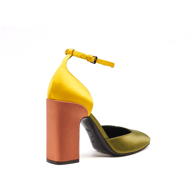 Loren Ankle Strap Pump - Sage/Honey/Ginger