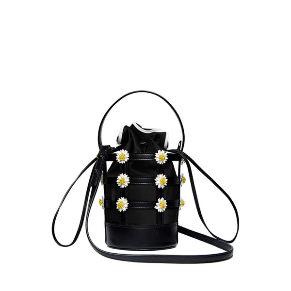Miss Daisy Bucket Bag with Suede Pouch - Black