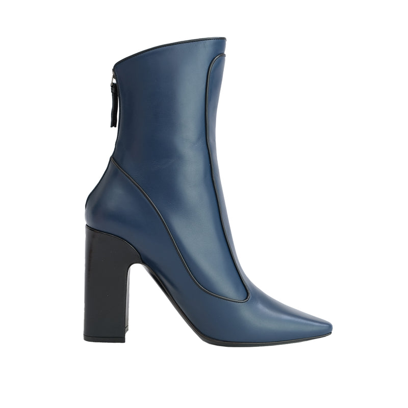 Winter Timeless Low Heel Bootie - Blue with Black Piping