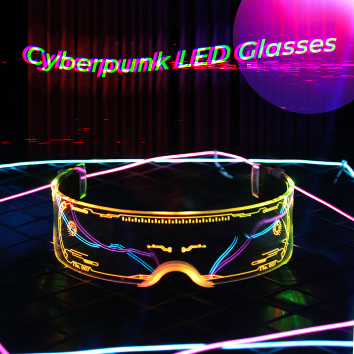 Cyberpunk 7 Color Luminous LED Tron Visor Glasses