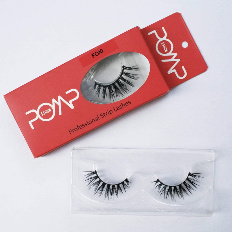 FOXI POMP & SHOW LASHES. Premium quality, cruelty free lashes that are pre-trimmed, pre-feathered with a glue tube in all box kits. (119126949896)