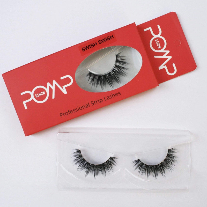 SWISH SWISH, POMP & SHOW Lashes. Premium quality, cruelty free lashes that are pre-trimmed, pre-feathered with a glue tube in all box kits. (119163387912)