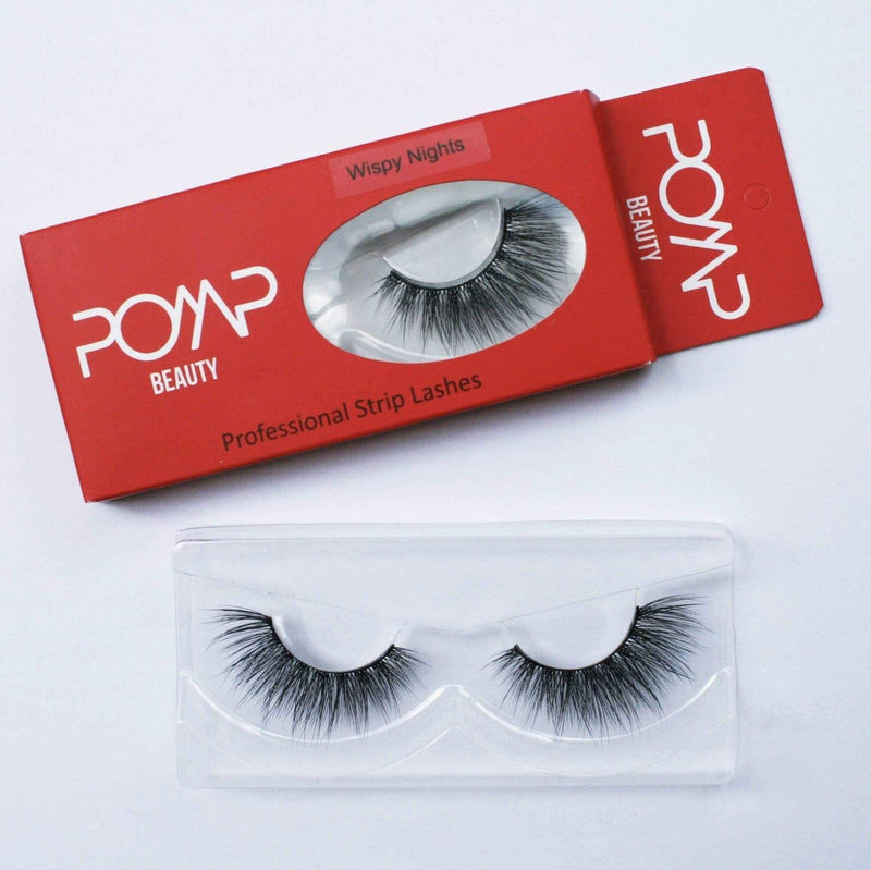 Wispy Nights POMP & SHOW Lashes. Premium quality, cruelty free lashes that are pre-trimmed, pre-feathered with a glue tube in all box kits. (10218686792)