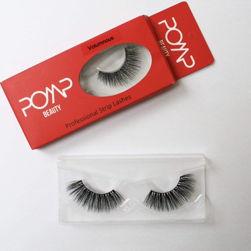 Volumnous POMP & SHOW lashes. Premium quality, cruelty free lashes that are pre-trimmed, pre-feathered with a glue tube in all box kits. (10218642568)