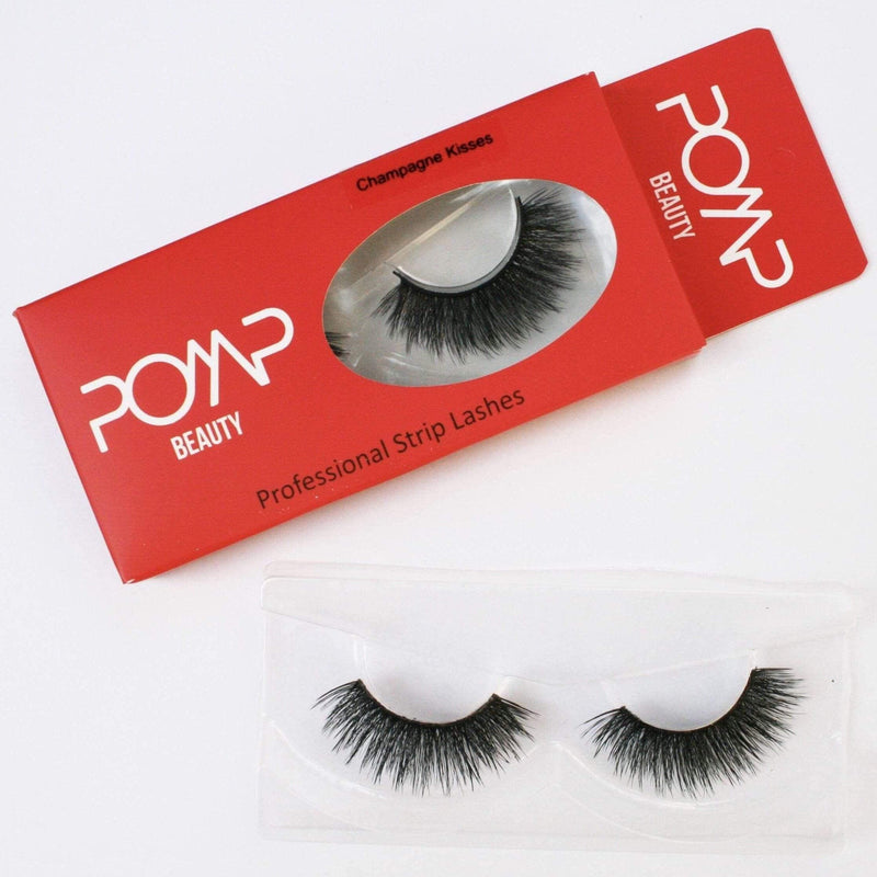 Champagne Kisses POMP & SHOW lashes. Premium quality, cruelty free lashes that are pre-trimmed, pre-feathered with a glue tube in all box kits. (10218383624)