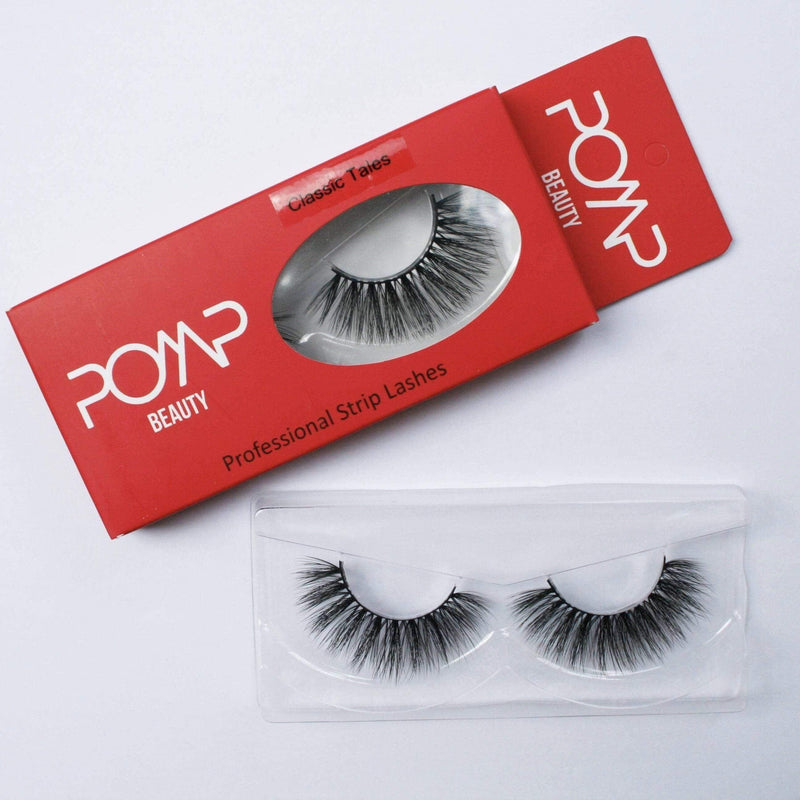Classic Tales POMP & SHOW Lashes. Premium quality, cruelty free lashes that are pre-trimmed, pre-feathered with a glue tube in all box kits. (10218569032)