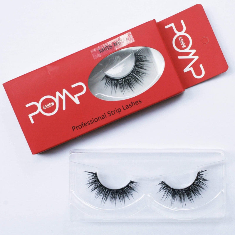 MISS ME POMP & SHOW Lashes. Premium quality, cruelty free lashes that are pre-trimmed, pre-feathered with a glue tube in all box kits. (118039412744)