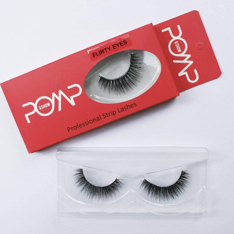 FLIRTY EYES POMP & SHOW Lashes. Premium quality, cruelty free lashes that are pre-trimmed, pre-feathered with a glue tube in all box kits. (119128227848)